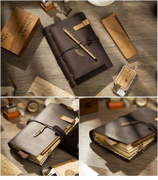 Handmade Vintage Leather Traveler Notebook - Dark Brown