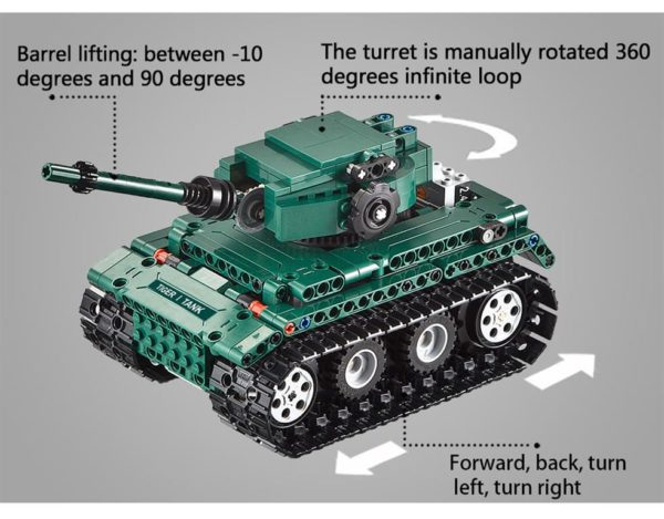 Motorized WW2 German Tiger 1 Tank - Building Blocks - 2