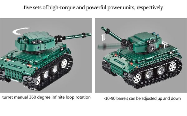 Motorized WW2 German Tiger 1 Tank - Building Blocks - 6