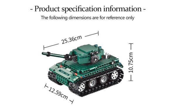 Motorized WW2 German Tiger 1 Tank - Building Blocks - Size