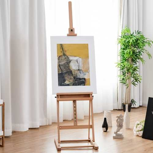 Adjustable Wood H-Frame Painting Floor Easel with Tray 2