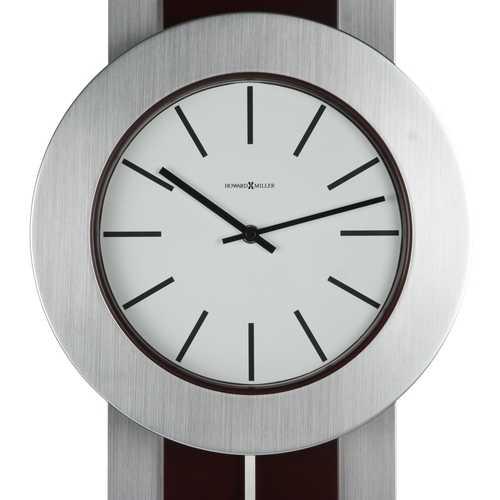 Modern Pendulum Style Wall Clock in Dark Merlot Cherry & Nickel 1