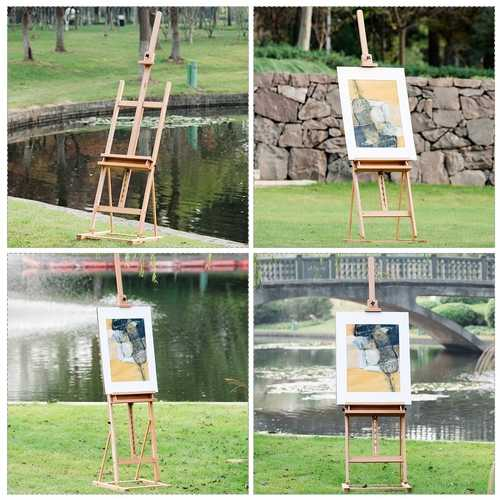 Adjustable Wood H-Frame Painting Floor Easel with Tray 3