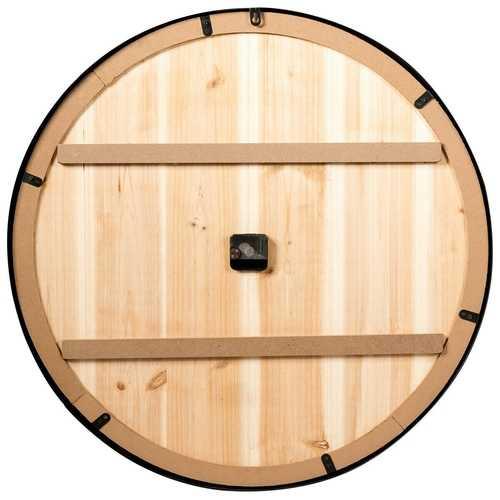Round 30-inch Roman Numeral Silent Wood Metal Farmhouse Wall Clock 1