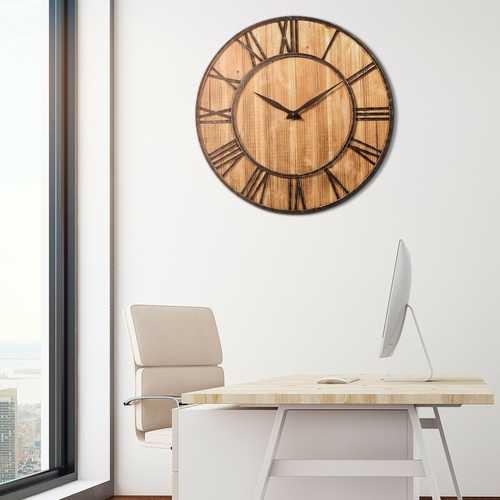 Round 30-inch Roman Numeral Silent Wood Metal Farmhouse Wall Clock 2