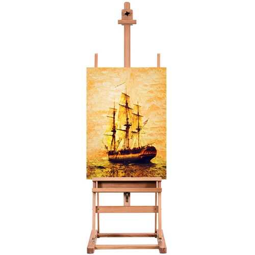 Adjustable Wood H-Frame Painting Floor Easel with Tray 4