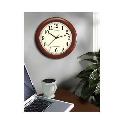 12.5-inch Atomic Analog Wall Clock with Wood Finish Frame 1