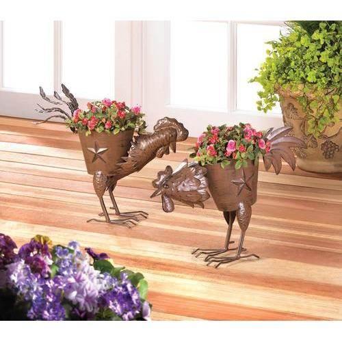 Pecking Rooster Iron Planter 1