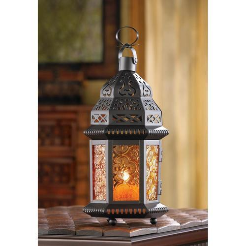 Amber Moroccan Candle Lantern 1
