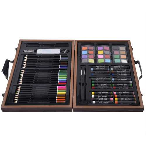 80-Piece Art Set Drawing Accessories with Wood Case 2