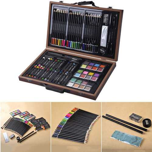 80-Piece Art Set Drawing Accessories with Wood Case 1