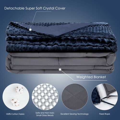 Weighted Blanket with Removable Soft Crystal Cover - 15lbs 3