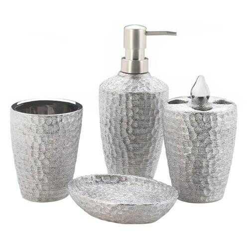 Hammered Silver Bath Accessory Set 1