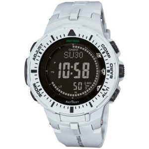 Casio Mens Pro Trek Digital Watch with Off-White Band
