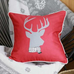 Christmas Deer Printed Decorative Throw Pillow Cover