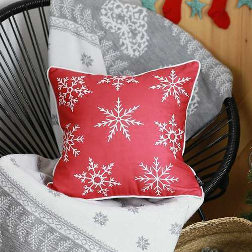 Red Snowflakes Christmas Decorative Throw Pillow Cover