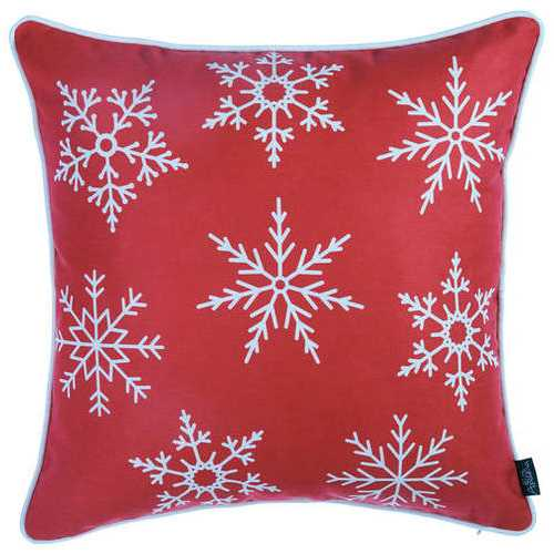 Red Snowflakes Christmas Decorative Throw Pillow Cover 3