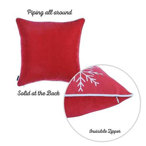 Red Snowflakes Christmas Decorative Throw Pillow Cover 4