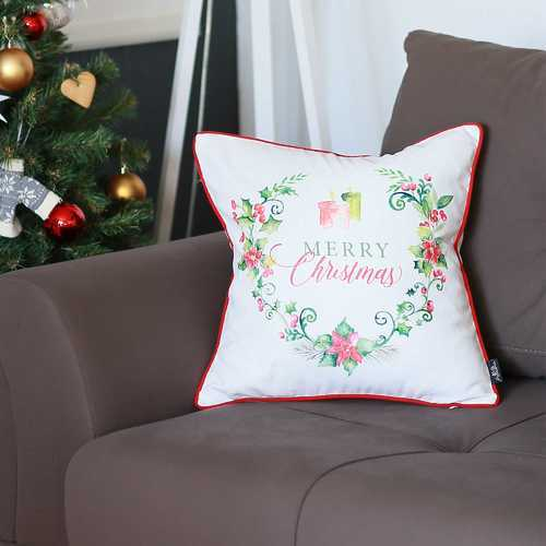 Christmas Flowers Printed Decorative Throw Pillow Cover