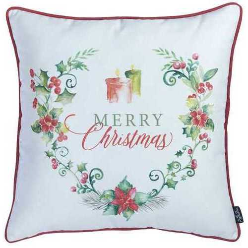 Christmas Flowers Printed Decorative Throw Pillow Cover 3