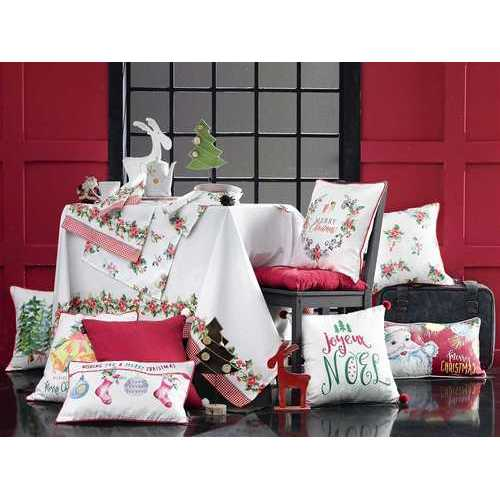 Christmas Flowers Printed Decorative Throw Pillow Cover 4