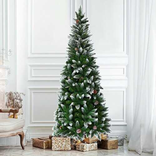 Artificial Pencil Christmas Tree with Pine Cones - 5 Feet 1