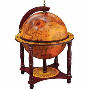 13 inch Diameter Globe with 57pc Chess and Checkers Set