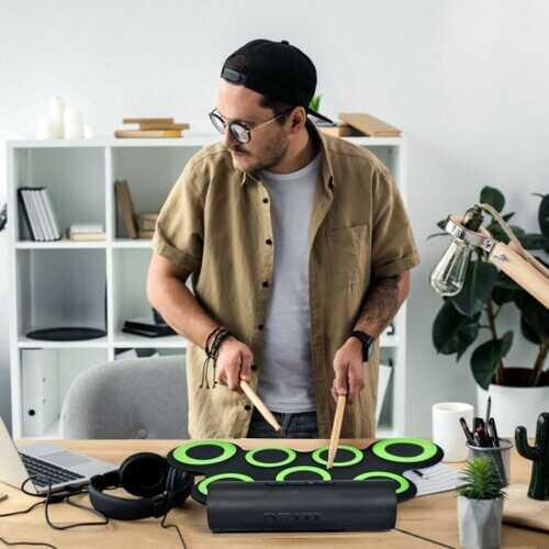 Set 7 Kit Electronic Roll Up Pads MIDI Drum -Green 2