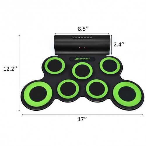 Set 7 Kit Electronic Roll Up Pads MIDI Drum -Green 4