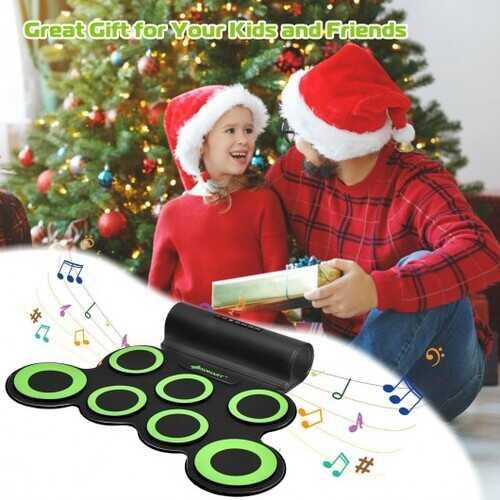 Set 7 Kit Electronic Roll Up Pads MIDI Drum -Green 5