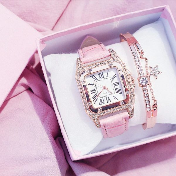 Women's Starry Square Dial Watch With Bracelet