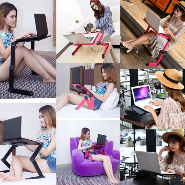 Foldable Ergonomic Laptop Stand With Cooling Fan And Mousepad - 15