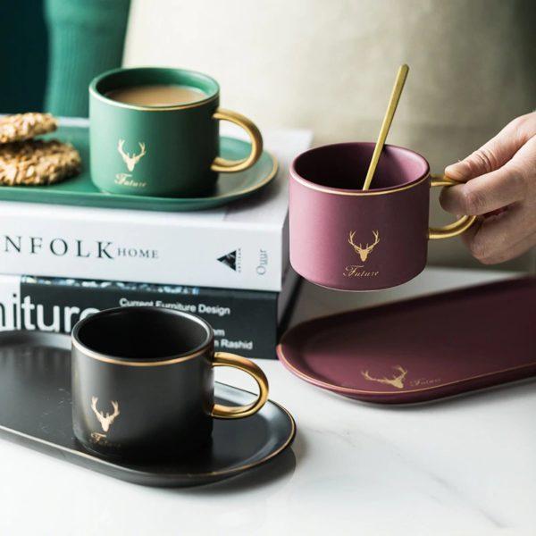 Gold Rimmed Coffee Mug Set