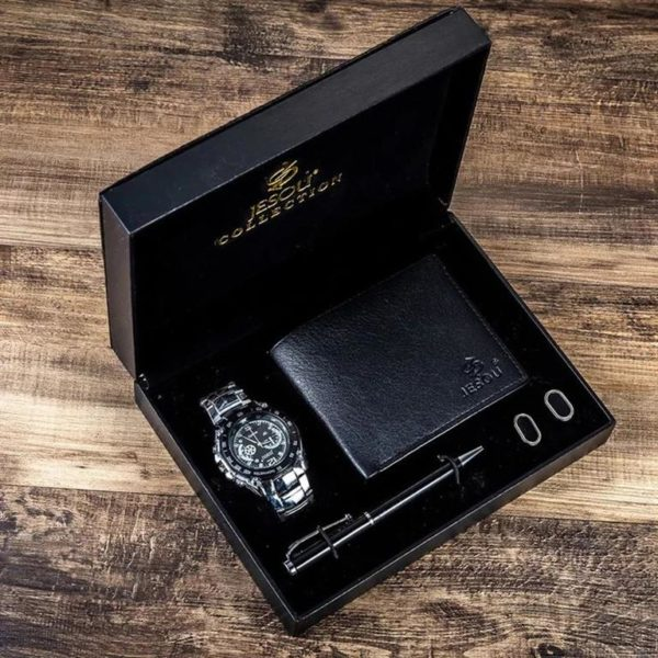 Mens Luxury Gift Set With Cufflinks, Pen, Wallet and Watch - 2