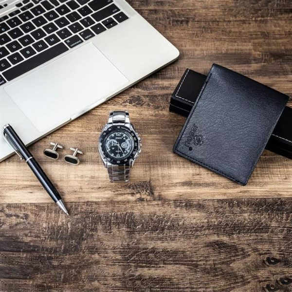 Mens Luxury Gift Set With Cufflinks, Pen, Wallet and Watch - 3