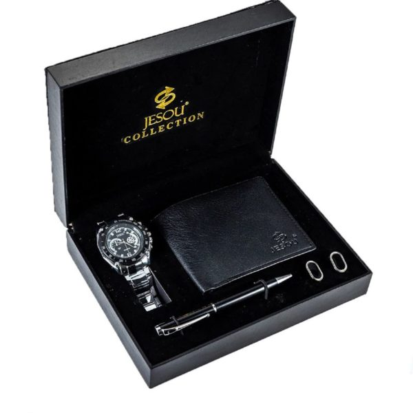 Mens Luxury Gift Set With Cufflinks, Pen, Wallet and Watch