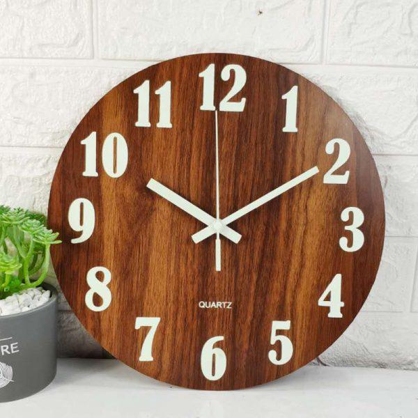 Glow In The Dark Wooden Wall Clock 1