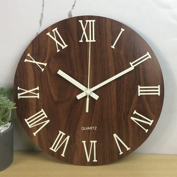 Glow In The Dark Wooden Wall Clock 2