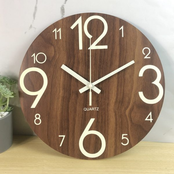 Glow In The Dark Wooden Wall Clock 8