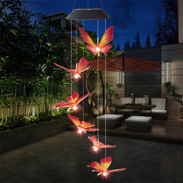 Solar Powered LED Butterfly Wind Chimes 1