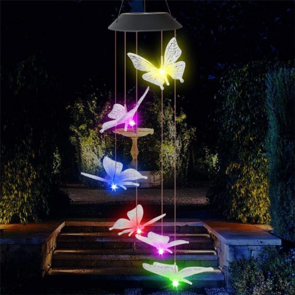 Solar Powered LED Butterfly Wind Chimes 2